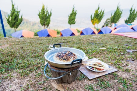 Thai barbecue Grill Pork It was yesterday's food.Camping day.Thailand Reklamní fotografie
