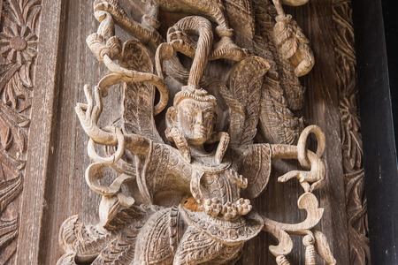 Wood carved of Pearl House in Baandam.Thailand