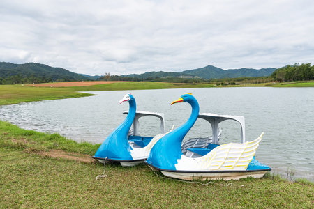 Swan boats Style on the lake in the Park with cloudy sky background.Thailand