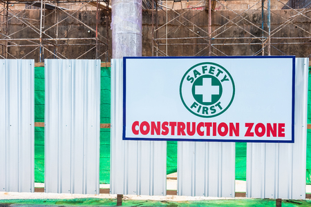 Construction zone sign in Phuket, Thailand