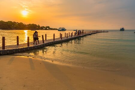 Rayong, Thailand - May, 12, 2019 :View of Vongdeuan beach at the Koh Samet island in morning sunrise time, Rayong, Thailand