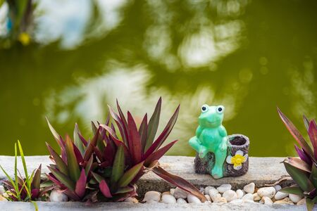 The blue frog on the edge of the pool.Outdoor Garden Decoration Statue