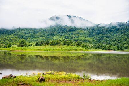 Beautiful landscape view lake of reservoir.Thailand
