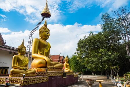 Buddha statue at Wat Chaiyo Warawithan temple, most popular religion traveling destination at Angthong province, Thailand