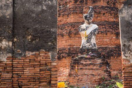 Old statue at Ayutthaya Historical Park, Phra Nakhon Si Ayutthaya, Ayutthaya, THAILAND