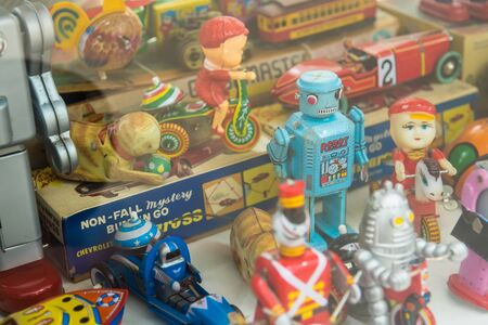 Ayutthaya, Thailand - September, 29, 2019 : Toy robot made of zinc as a collector at MILLION TOY MUSEUM in Ayutthaya, Thailand. 報道画像