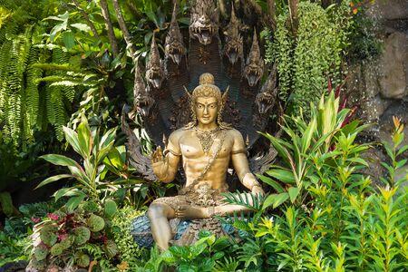 Thai Dragon or Serpent King or King of Naga Statue In garden