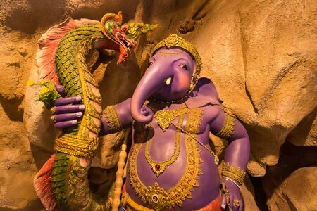 Indian Hindu God Lord Ganesha Statue made of clay and coated with ceramic colors, handmade artistic effects, Beautiful artifacts. Happy Ganesh Chathuthi. He also known as Lord Vinayaka