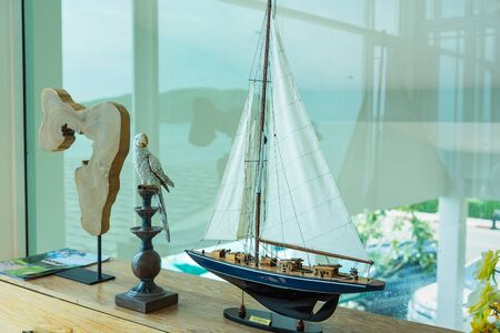 Nautical background with Sailboat Model Stockfoto