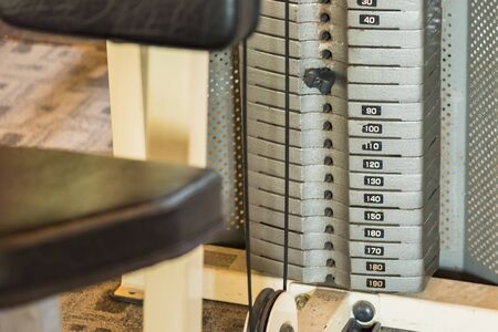 The weight stack in gym.Thailand Stockfoto