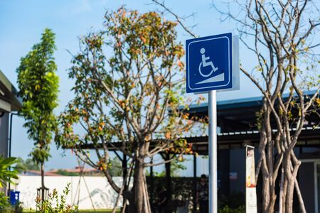 Sign Parking car for disable , Special Parking places for disable in petrol station
