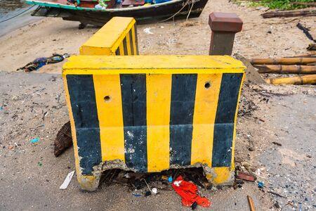 Yellow and black road separator