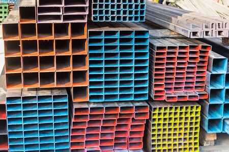 Metal profile channel in packs at the warehouse of metal products