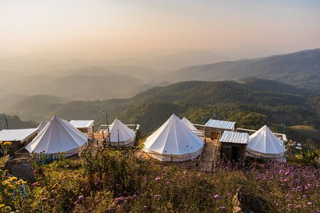 Camping tents on the mountains in Chiang Mai, Thailand