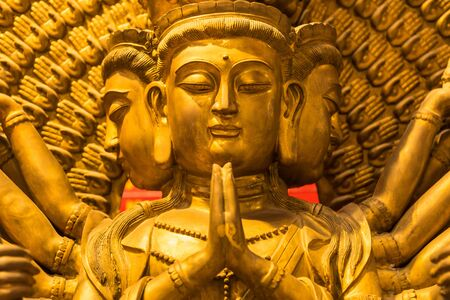Golden god chinese image, Chinese Temple Wat Borom Racha Kanchanapisek Anusorn (Leng nuei Yee 2), Bangkok.Thailand.