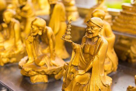 Golden Buddha Chinese style pattern at Wat Leng Nei Yee 2 Temple.Bangkok, Thailand