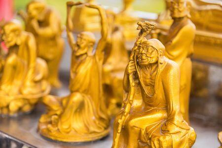 Golden Buddha Chinese style pattern at Wat Leng Nei Yee 2 Temple.Bangkok, Thailand Stock fotó