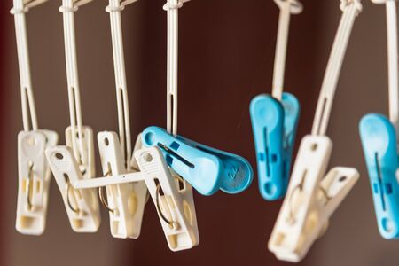 Clothes pegs on the washing line. 写真素材