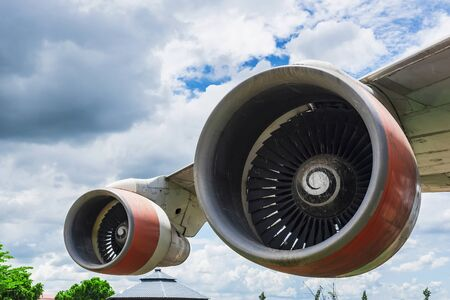 Closeup of an airplane turbine front view at Thailand.
