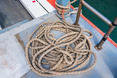 Rope ladder on the ship.