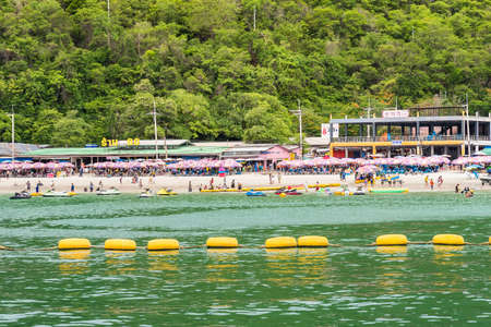 Chon Buri, Thailand - June, 27, 2020 :  Pictures of Tawaen Beach in the day time on Koh Lan island after the outbreak of the Covid 19 virus.