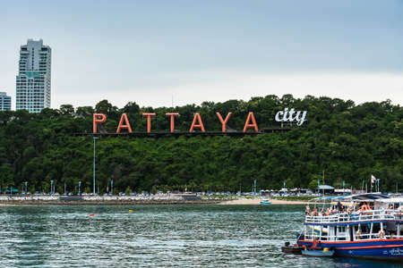Chon Buri, Thailand - June, 28, 2020 : Big red letters PATTAYA view from the sea. Thailand