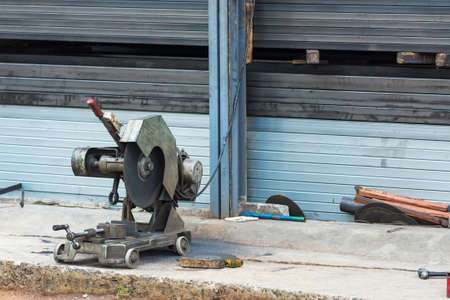 Old metal cutting machine used in factory