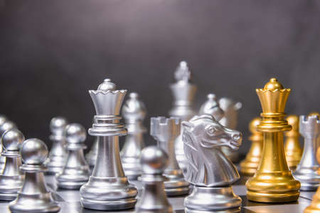 Chess game competition business concept , Business competition concept Fighting and confronting problems.