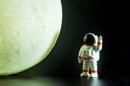 The Astronaut man on the moon.Space explorer concept.
