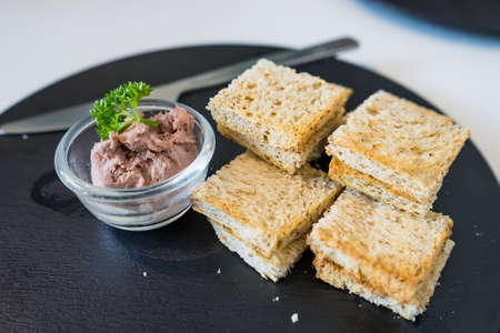 Piece Of Bread With Liver Pate in a cafe at Thailand.