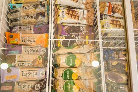 Bangkok, Thailand - April, 04, 2021 :Ice cream in the freezer..in the convenience store at Bangkok, Thailand Editorial