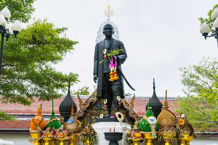 Samut Songkhram, Thailand - April, 04, 2021: The King Rama 2 Monument is near Amphawa Floating Market, Samut Songkhram, Thailand. It is a place of worship for villagers in this area. Editorial