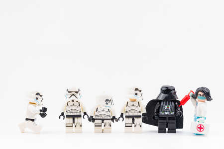 Bangkok, Thailand - April, 26, 2021 : Lego Star Wars line up to receive COVID-19 vaccination from Lego Doctor.Concept fights COVID-19.