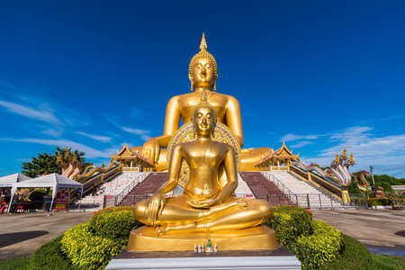 Ang Thong, Thailand-June, 19, 2021 : The Big Great Buddha of Thailand is one of the main pilgrim.Located in the Wat Muang Monastery in Ang Thong province THAILAND.