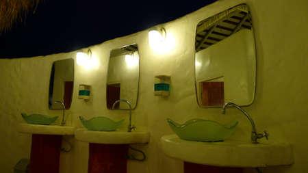sinks: Bathroom sinks at the coffee shop Stock Photo