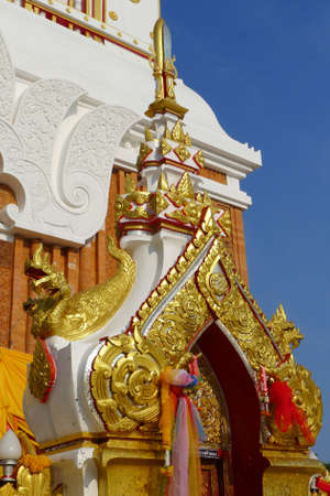 gild: the gate of Pagoda Buddhist decorative made from painted and gild