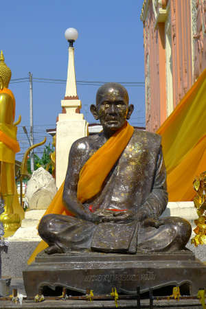 master: The sculpture of master monk  was made from bronze Stock Photo