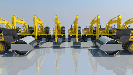 rollers: 3d render  excavator and rollers machine for auction work.