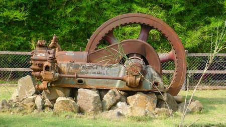 century: the old machinery in garden at kamnan jun farm Phetchabun Province thailand