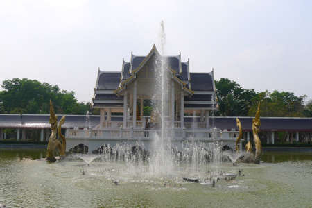 serpents: thai  pavilion style  in the middle of the lake at The exhibit at Bang Sai, Phra Nakhon Si Ayutthaya province,thailand