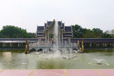 phra nakhon si ayutthaya: thai  pavilion style  in the middle of the lake at The exhibit at Bang Sai, Phra Nakhon Si Ayutthaya province,thailand