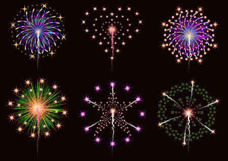fireworks collection vector set for graphic or website layout vector Illustration