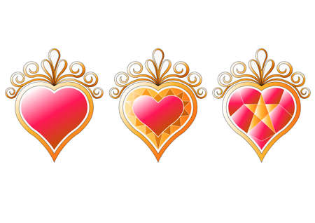 hearts collection vector set for graphic or website layout vector