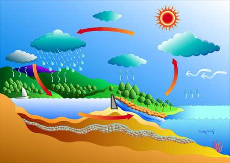 cíclico: ciclo del agua del arte del vector de gráfico o sitio web vector de diseño Vectores