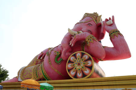 worshipped: Ganesha sculpture on building at  Wat Saman Rattanaram Temple, Chachoengsao Province, Thailand Stock Photo