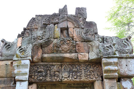 worshipped: Tympanum of  Prasat Muang Tam is a Khmer temple in Prakhon Chai district, Buri Ram Province, Thailand. Stock Photo