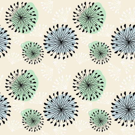 Seamless vector pattern with dandelions. Repeating background. Illustration