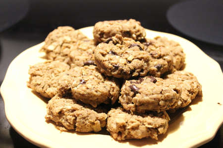 Freshly baked gluten-free chocolate chip oatmeal cookies
