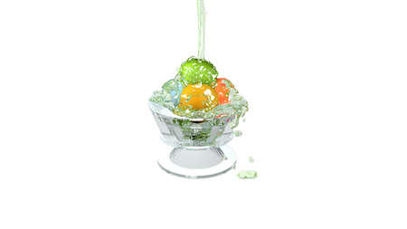 Balls in the glass jar are overloaded with ice water. 3d illustration on white background