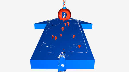 In a blue arrow, a water wave with question marks to an infopoint. 3d illustration